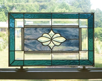 Mixed Carolina and Steel Blues! ! Stained glass and Beveled Panel