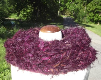 Chunky knit cowl,  tube top for small or medium sized women, openwork tube hood scarf, one size, fluffy variegated plum tweed mix