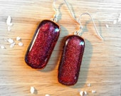 Sterling Silver Fused Glass Earrings Sparkling Copper Tones