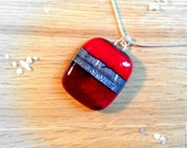 Sterling Silver Fused Glass Necklace Ruby Red and Silver