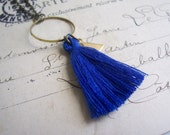 Royal Blue Tassel necklace with Triangle charm - cotton and brass on fine chain - boho jewellery