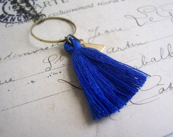 Royal Blue Tassel necklace with Triangle charm - cotton and brass on fine chain - folk