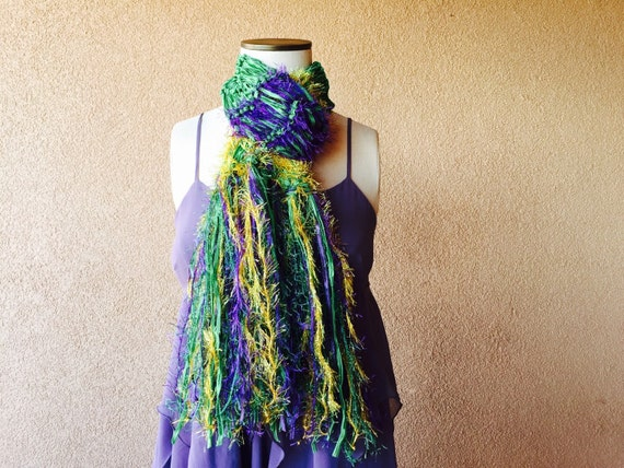 Mardi Gras Scarf, Lightweight Mardi Gras Fashion Accessory. Purple, Green, Gold with Metallic Sparkle Fringe and Ribbon Scarf