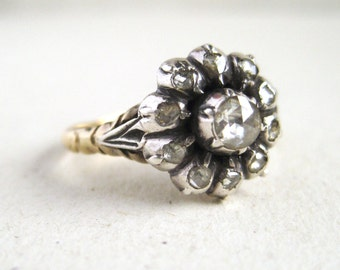 Rare Georgian Ring with Rose Cut Diamonds in 15k Gold and Silver, Antique Engagement Ring or Right-Hand Ring, OOAK