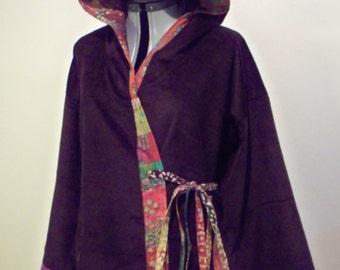 Brown Corduroy and Batik Prints Patchwork Kimono Style Wrap Jacket with Hood Hippie Boho