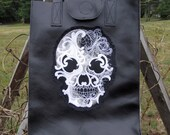 Black Leather Day of the Dead Embroidered Tote Shoulder Bag