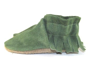 Green Leather Baby Shoes Moccasins Soft Sole 6 to 12 Month