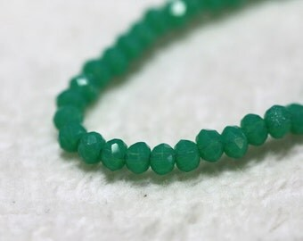 50 pcs. 2x3mm. Green Faceted Rondelle Chinese Glass Crystal