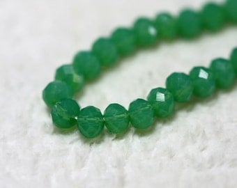 25 pcs  4x3 mm Jade Green Opal Chinese Crystal Rondelle