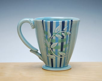 Plaid Deluxe clover cup in Glossy Aqua w. Leaves and Navy, Sky blue, & Green Stripes and Polka dot, Victorian mod