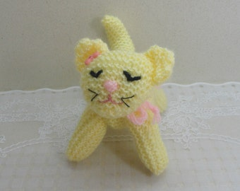 Small yellow cat toy cat small knitted cat knitted pet pets lovers kids baby toy yellow cat