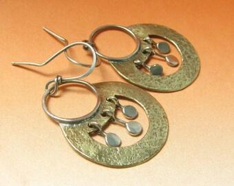 Small Nefertitti Earrings, Bronze Earrings, Sterling Silver Earrings, Artisan Mixed Metal Earrings, Exotic Earrings, Metalsmith Earrings