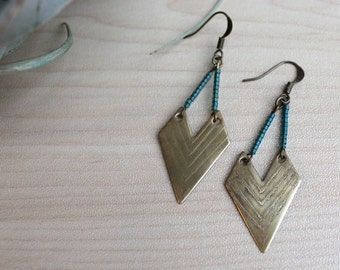 Etched beaded Chevron Earring