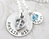 Custom Name, Custom Hand Stamped Gift for Mom, Footprints Necklace with Baby's Name, Birth Date & Crystal Birthstone, Personalized Necklace