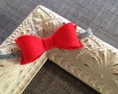 Ohio State Buckeyes Headband // Scarlet & Grey Felt Bow Headband // Red Bow // Silver Glitter Elastic // Baby Headband // OSU // Glitter