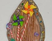 Fairy Door ~ Pinwheels & Gumdrops!  Fairy Decor, Miniature