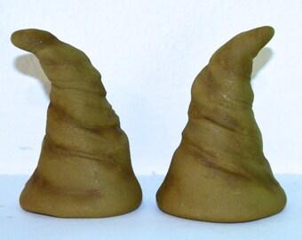 Old Moss Green Horns Polymer Clay Festival, Halloween, Troll, Devil, Ren Fair