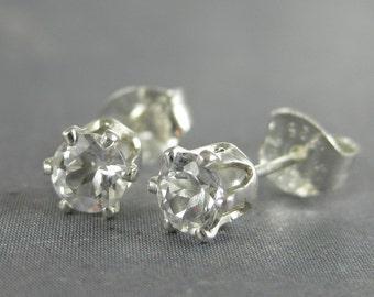 White topaz stud earrings, topaz earrings, white gemstone stud earrings, gift for her, genuine gemstone studs, sterling silver studs