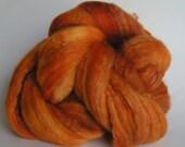 Roving Rove Top Fiber Merino SILK Bamboo Wool PUNKIN 50 25 25 PhatFiber Spin Felt Nuno Craft 4 ounces Fall Warm Blend handspinning hand dyed