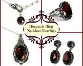 Burgundy Gothic Jewelry Set Dark Red Swarovski Necklace Earrings Ring Oxidized Silver Gothic Jewelry Set