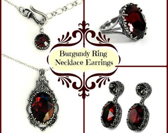 Burgundy Swarovski Necklace Earrings Ring Gothic Jewelry Sets Dark Red Swarovski Oxidized Silver Jewelry Set Romantic Elegant Victorian