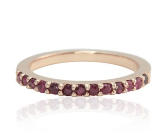 Ruby Ring - July Birthstone Ring with Prong set Rubies in 14k Rose Gold - Ruby Wedding Band- LS4589