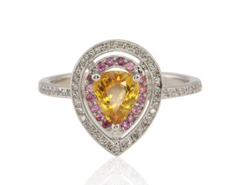 Yellow Sapphire and Pink Sapphire Pear Shaped Diamond Ring, Sunny Yellow Natural Sapphire Ring - Harper Collection - LS413