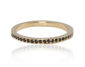 Rose Gold Wedding Band, Pave Black Spinel Wedding Ring, Black Spinel Stacking Ring in 14k Rose Gold - LS2804