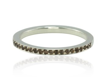 Half Eternity Band, Smoky Quartz Stacking Band in 14kt White Gold, Wedding Band - LS2802