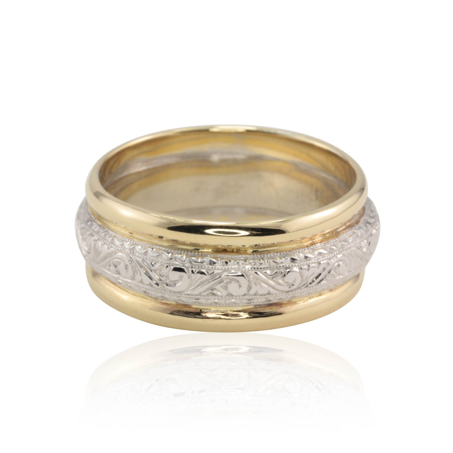 Man S Hand Bands: Hand Engraved Man's Wedding Band With Yellow Gold Edges