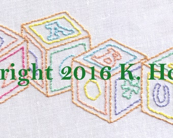 Baby Blocks Hand Embroidery Pattern, Stuff, Baby, Blocks, Wooden, Educational, Vintage, Child, Toddler, Toys, PDF