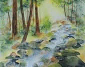 Fine Art-Watercolor Painting of a Winding Stream  in the Smoky Mountains-Tennessee-Landscape