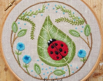 Ladybug on a Leaf Crewel Embroidery Pattern and Kit