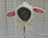 SALE 6-12M Lamb Baby Bonnet READY to SHIP Christmas Gift for Baby