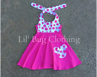 Minnie Mouse Pink Dress, Bubble Gum Pink White Polka Dot Minnie Mouse Dress, Minnie Mouse Birthday Dress, Custom Boutique Minnie Dress