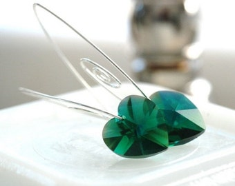Emerald Green Crystal Earrings, Teal Swarovski Crystal Heart Elements and Sterling Silver - Cherish