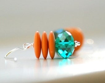 Teal Green and Orange Glass Earrings, Faceted Glass, Vintage Lucite and Sterling Silver