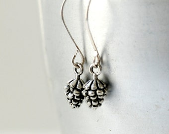 Pinecone Earrings, Winter Jewelry, Winter Wedding, Pewter Pine Cones, Woodland Wedding, Nature Jewelry, Woodland Jewelry, Sterling Silver