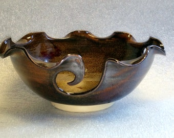 Amber Pottery Yarn Bowl  - Wheel Thrown with Scalloped Edge - The Best of the Show!