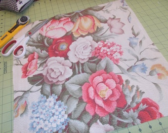 Gorgeous vintage Barkcloth pillow fronts Pink roses tulips hydrangea barkcloth remnants