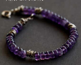 handmade rustic robust sterling silver bracelet with rondelles of purple gemstone amethyst