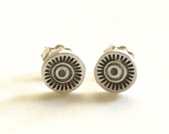 Sunburst Studs in sterling silver, stamped, tiny