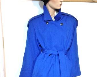 Blue Wool Coat 80s Trench Coat Wool Gardine Size 14 Petite