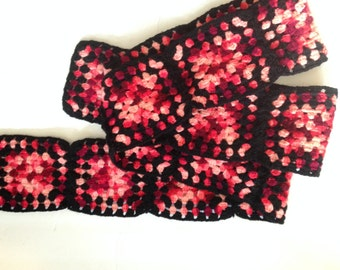 Granny Square LONG Wool Crochet Scarf Boho Forest Girl