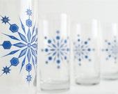 Snowflake Drinking Glasses - Set of 2 Holiday Glasses, Blue and Silver Snowflake Glasses, Holiday Glassware, Christmas Glasses, Snowflakes