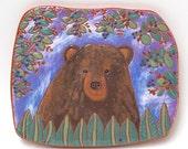 summertime bear on the trail hand carved ceramic art tile