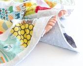 Baby Boy Scrappy Patchwork Blanket with Dusty Blue Minky