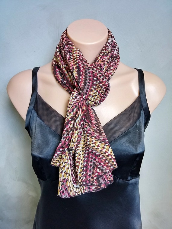 Burgundy and Gold Abstract Fashion Scarf - Great Summer Sheer Scarf, Sarong, Scarf Top -  52 X 29 inches