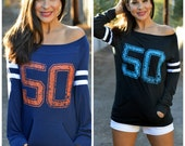 The Big Game.  50.  Wide Shouldered Sporty Long Sleeved Tee.  Off the Shoulder Top.  Made in the USA. Black or Navy Blue Football Tee.