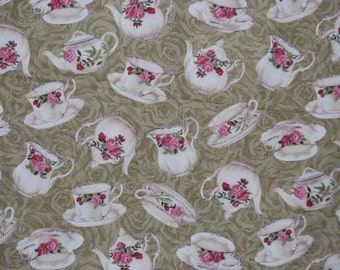 "Fabric china tea cups and tea pots  - Faye Burgos - ""tea time"" - light green"
